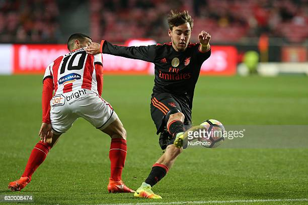 Benficas midfielder Andre Horta from Portugal and Leixoess midfielder Chiquinho from Portugal during Portuguese Cup match between SL Benfica v...