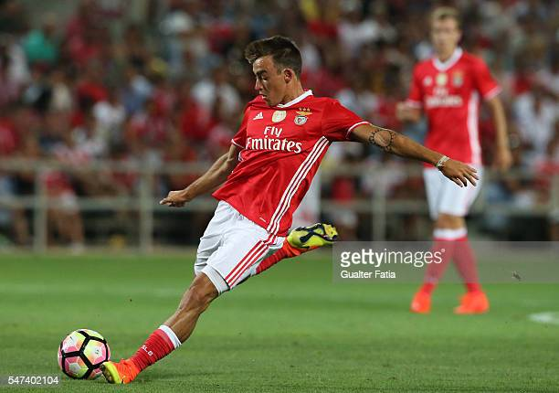 Benfica's midfielder Andre Horta in action during the Algarve Football Cup Pre Season Friendly match between SL Benfica and Vitoria Setubal at...