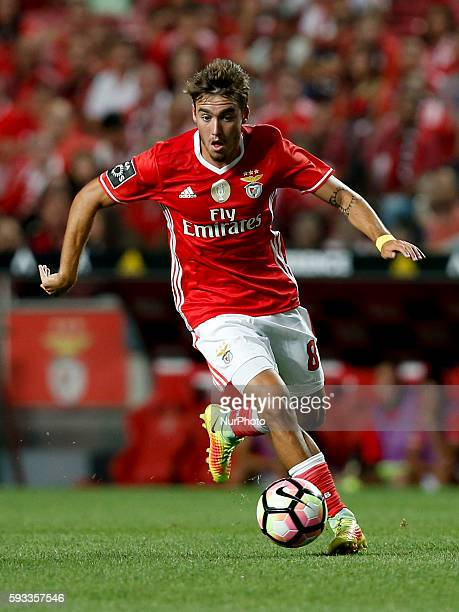 Benfica's midfielder Andre Horta in action during the Portuguese League football match between SL Benfica and Vitoria Setubal at Luz Stadium in...