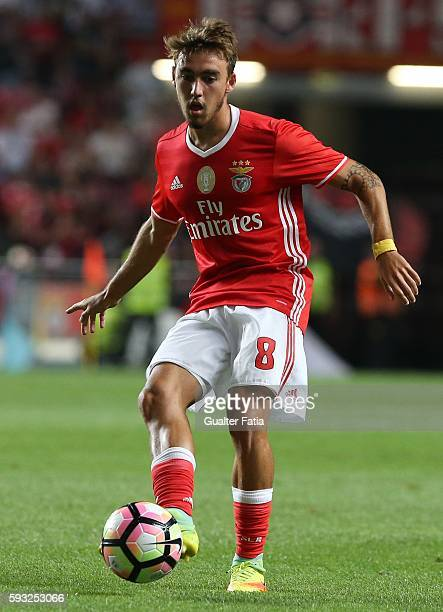 Benfica's midfielder Andre Horta in action during the Primeira Liga match between SL Benfica and Vitoria de Setubal at Estadio da Luz on August 21...