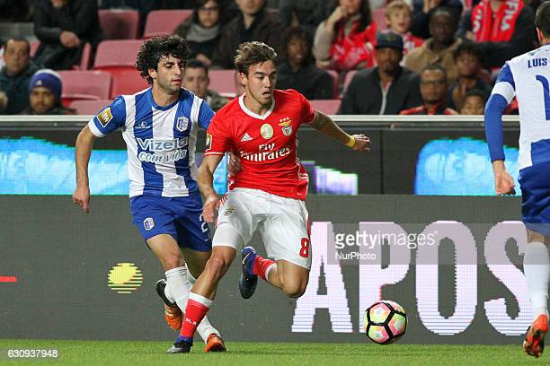 Benfica's midfielder Andre Horta vies with Vizela's defender Marcio Cordeiro during the Portuguese League Cup football match SL Benfica vs FC Vizela...