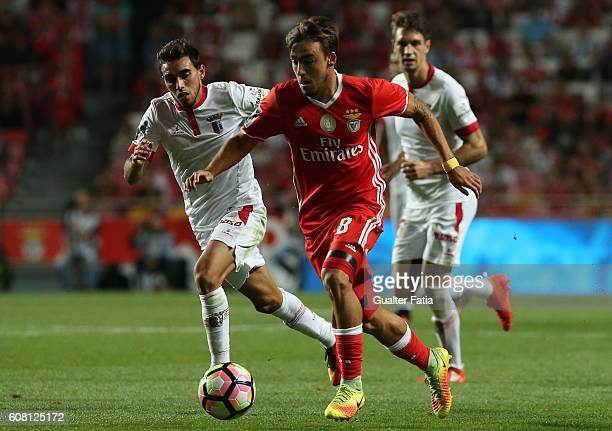 Benfica's midfielder Andre Horta with SC Braga's Portuguese forward Ricardo Horta in action during the Primeira Liga match between SL Benfica and SC...