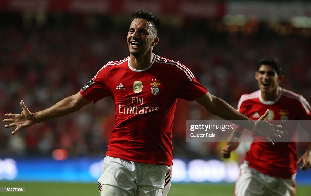 SL Benfica's midfielder Andreas Samaris celebrates after scoring a goal during the Primeira Liga match between SL Benfica and Moreirense FC at Estadio da Luz on August 29, 2015 in Lisbon, Portugal.