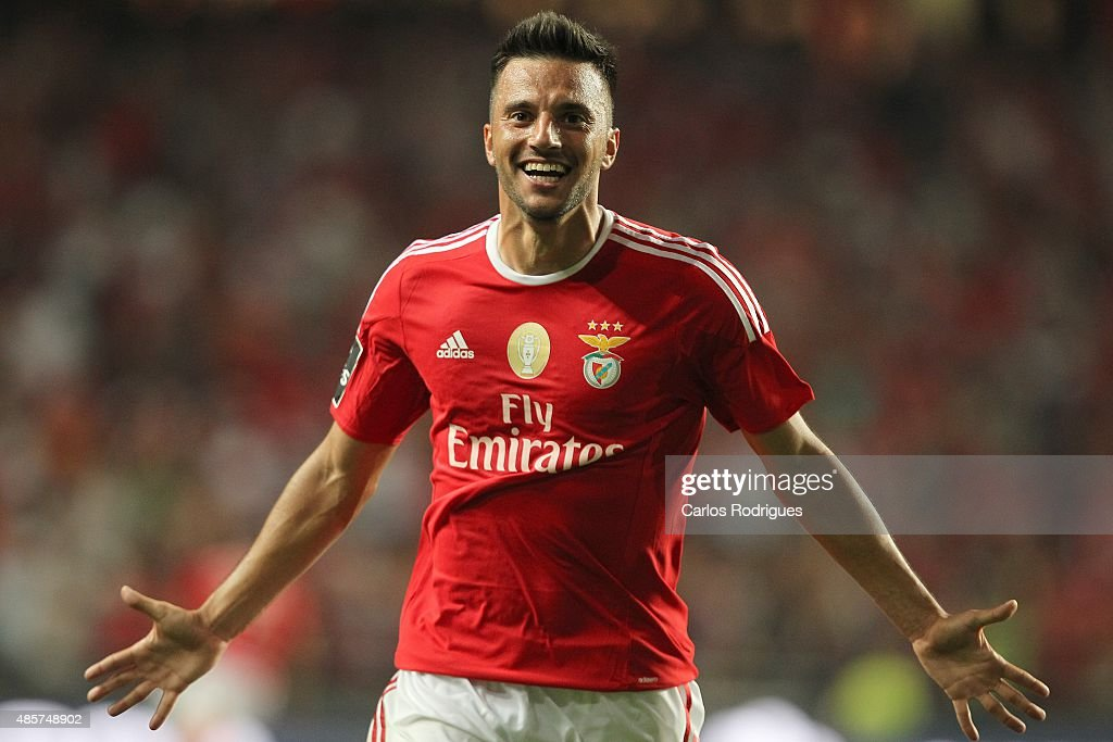 Benfica's midfielder Andreas Samaris celebrating scoring Benfica«s second goal during the match between SL Benfica and Moreirense FC at Estadio da Luz on August 29, 2015 in Lisbon, Portugal.