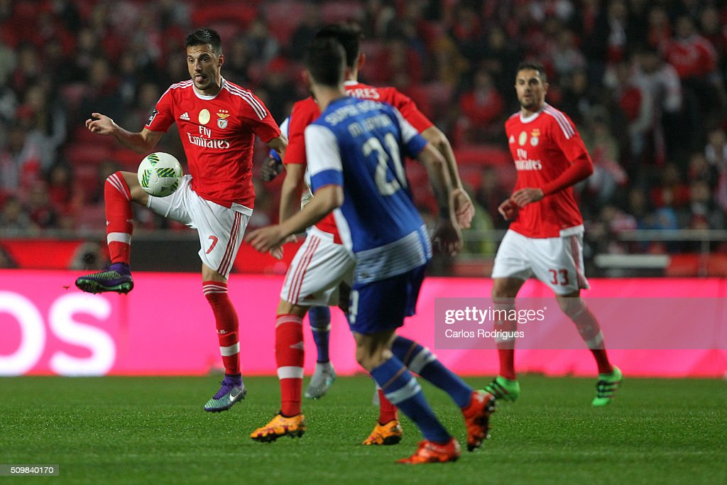 Benfica's midfielder Andreas Samaris during the match between SL Benfica and FC Porto for the portuguese Primeira Liga at Estadio da Luz on February 12, 2016 in Lisbon, Portugal.