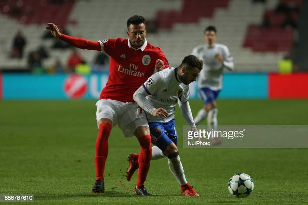 Benficas midfielder Andreas Samaris from Greece and Fc Basel forward Renato Steffen from Switzerland during the match between SL Benfica v FC Basel...