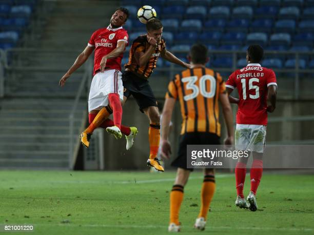 Benfica's midfielder Andreas Samaris from Greece with Hull City midfielder Markus Henriksen in action during the Algarve Cup match between SL Benfica...
