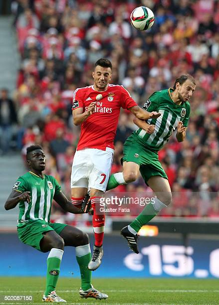 Benfica's midfielder Andreas Samaris with Rio Ave FC's midfielder Renan Bressan in action during the Primeira Liga match between SL Benfica and Rio...