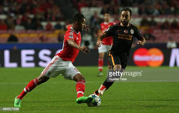 Benfica's midfielder Carcela with Galatasaray AS midfielder Emre Colak in action during the UEFA Champions League match between SL Benfica and...