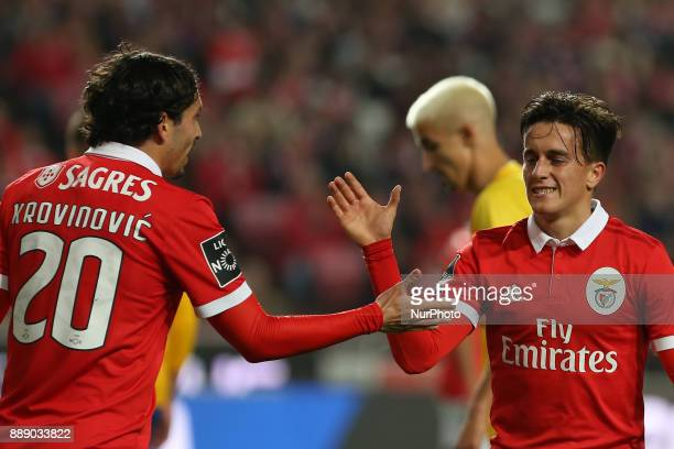 Benficas midfielder Filip Krovinociv from Croatia and Benficas forward Franco Cervi from Argentina during the Premier League 2017/18 match between SL...