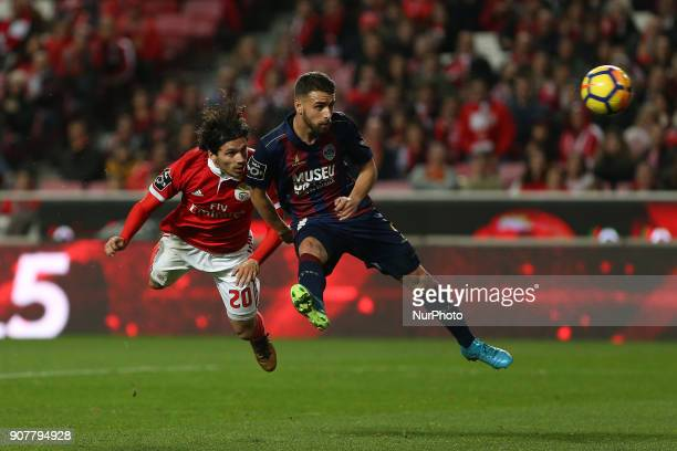 Benficas midfielder Filip Krovinociv from Croatia and GD Chaves defender Paulinho from Portugal during the Premier League 2017/18 match between SL...