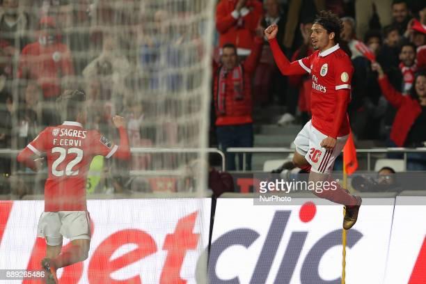 Benficas midfielder Filip Krovinociv from Croatia celebrating after scoring a goal during the Premier League 2017/18 match between SL Benfica v GD...