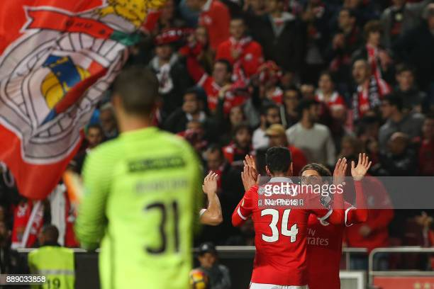 Benficas midfielder Filip Krovinociv from Croatia celebrating with Benficas defender Andre Almeida from Portugal after scoring a goal during the...