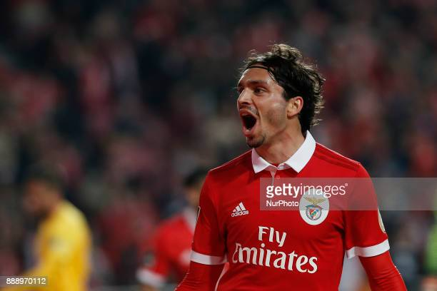 Benfica's midfielder Filip Krovinovic celebrates his goal during Primeira Liga 2017/18 match between SL Benfica vs GD Estoril Praia in Lisbon on...