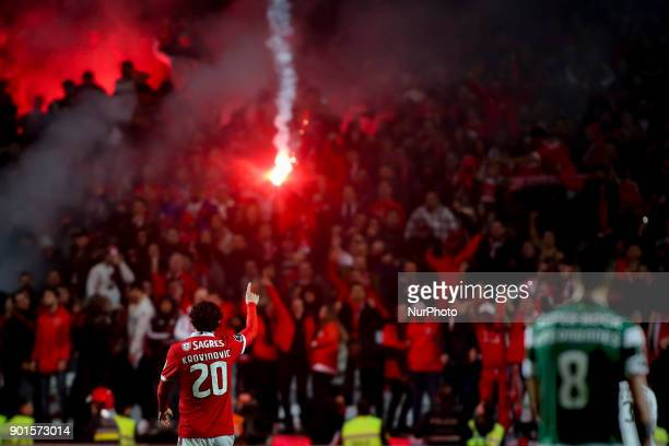 Benfica's midfielder Filip Krovinovic celebrating their goal during the Portuguese League football match between SL Benfica and Sporting CP at Luz...