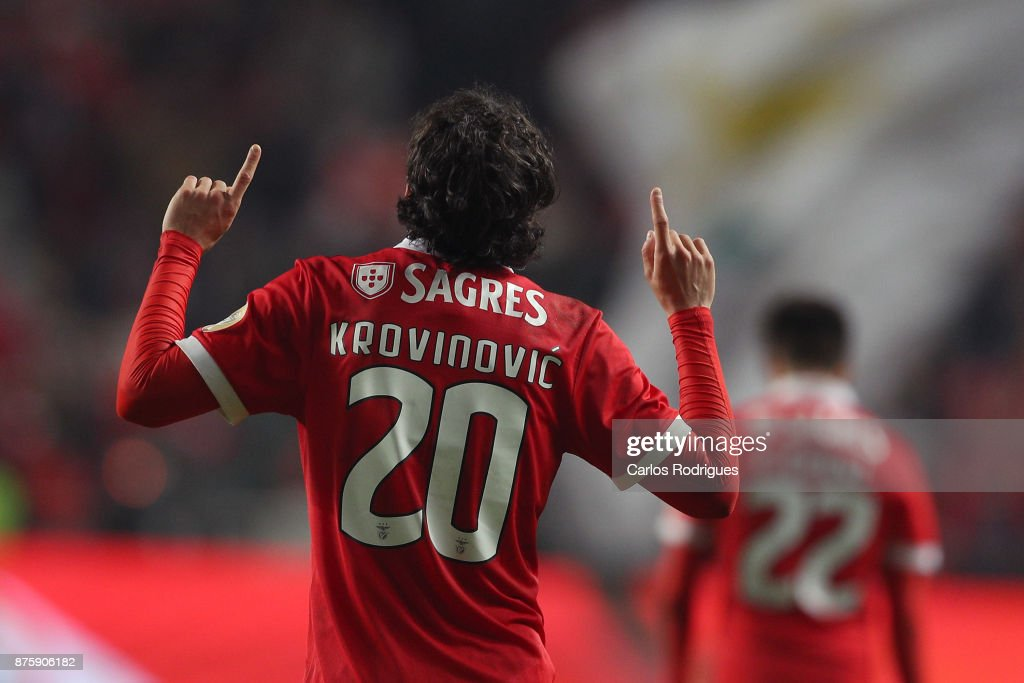 Benfica's midfielder Filip Krovinovic from Croatia celebrates scoring Benfica second goal during the match between SL Benfica and FC Vitoria Setubal for the Portuguese Cup at Estadio da Luz on October 18, 2017 in Lisbon, Portugal.