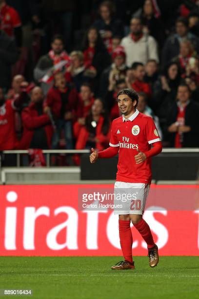 Benfica's midfielder Filip Krovinovic from Croatia celebrates scoring Benfica third goal during the match between SL Benfica and Estoril Praia SAD...