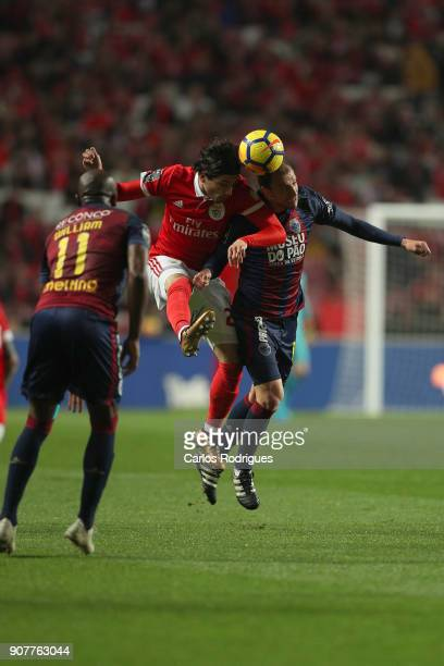 Benfica's midfielder Filip Krovinovic from Croatia vies with GD Chaves midfielder Renan Bressan from Belarus for the ball possession during the match...