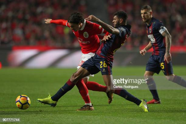 Benfica's midfielder Filip Krovinovic from Croatia vies with GD Chaves defender Djavan from Brazil for the ball possession during the match between...