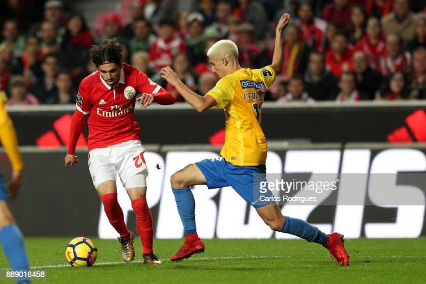 Benfica's midfielder Filip Krovinovic from Croatia vies with GD Estoril Praia defender Fernando Fonseca from Portugal for the ball possession during...