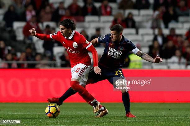 Benfica's midfielder Filip Krovinovic vies for the ball with Chaves's forward Pedro Tiba during Primeira Liga 2017/18 match between SL Benfica vs GD...