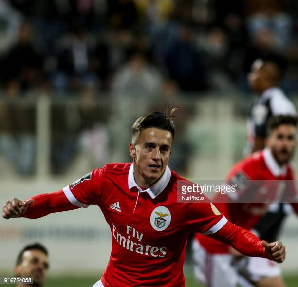 Benfica's midfielder Franco Cervi celebrates after scoring during the Portuguese League football match between Portimonense SC and SL Benfica at...