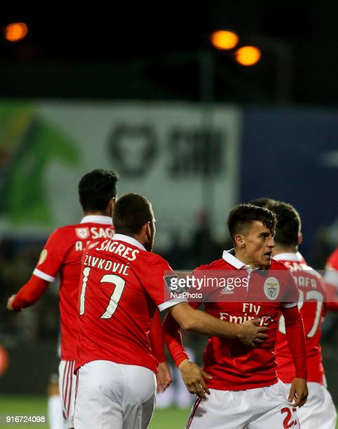Benfica's midfielder Franco Cervi celebrates with team mates after scoring during the Portuguese League football match between Portimonense SC and SL...