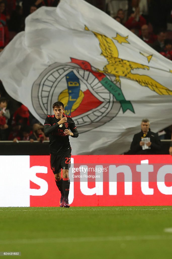 Benfica's midfielder Franco Cervi from Argentina celebrates scoring Benfica«s first goal during the SL Benfica v CS Maritimo - Portuguese Cup round 4 match at Estadio da Luz on November 19, 2016 in Lisbon, Portugal.