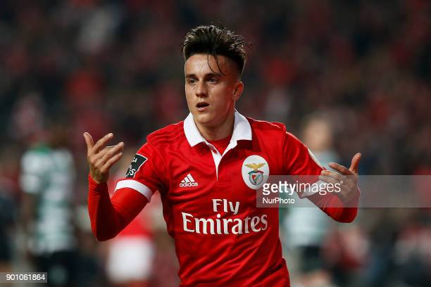 Benfica's midfielder Franco Cervi reacts during Primeira Liga 2017/18 match between SL Benfica vs Sporting CP in Lisbon on January 3 2018