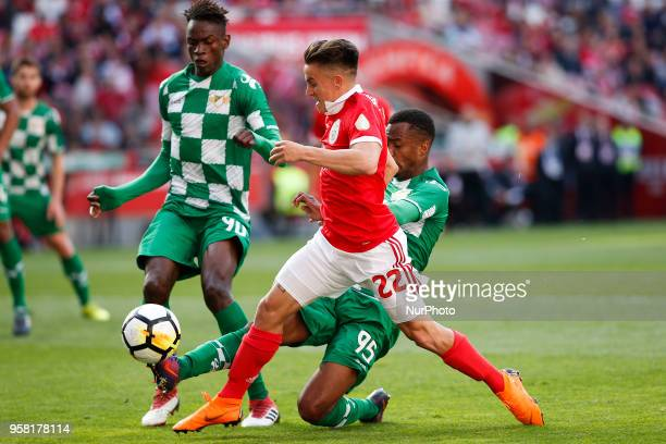 Benfica's midfielder Franco Cervi vies for the ball with Moreirense's midfielder Alfa Semedo and Moreirense's defender Sagna during the Portuguese...
