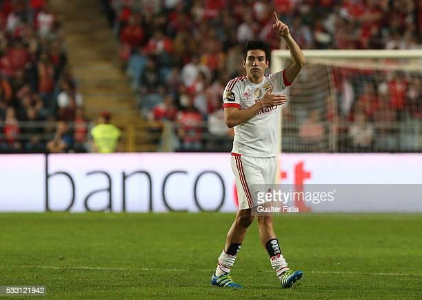 Benfica's midfielder from Argentina Nico Gaitan celebrates after scoring a goal during the Taca CTT Final match between SL Benfica and CS Maritimo at...