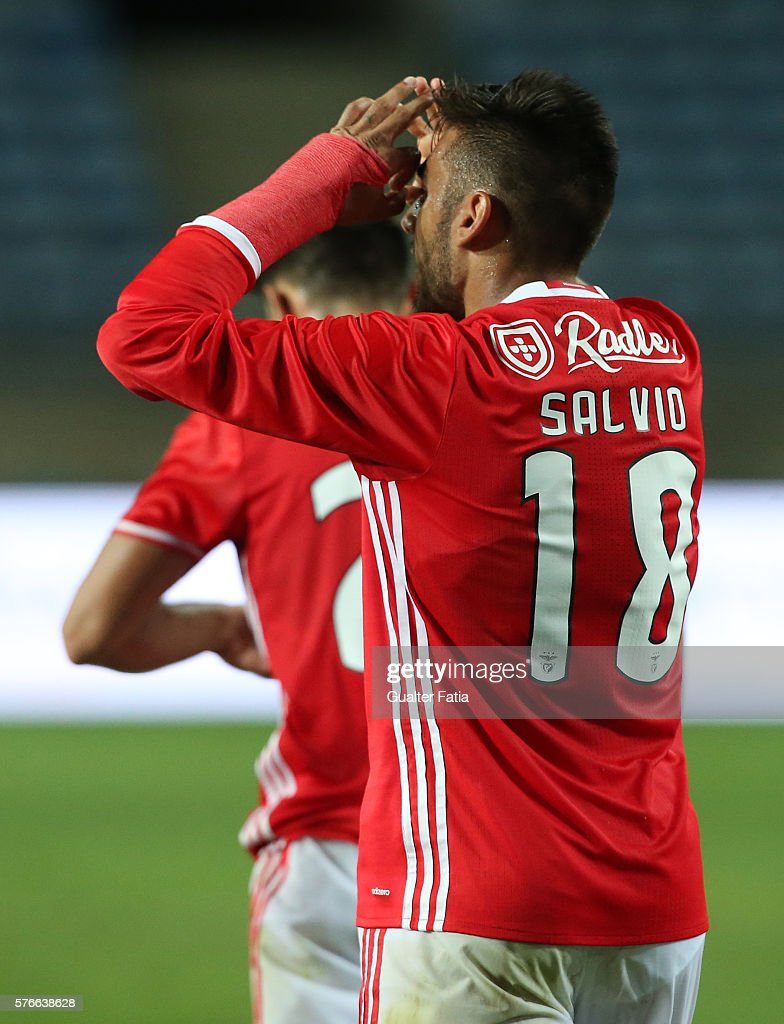 SL Benfica's midfielder from Argentina Salvio celebrates after scoring a goal during the Algarve Football Cup Pre Season Friendly match between SL Benfica and Derby County at Estadio do Algarve on July 16, 2016 in Faro, Portugal.