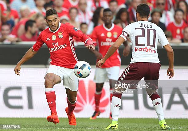 Benfica's midfielder from Argentina Salvio in action during the Eusebio Cup match between SL Benfica and Torino at Estadio da Luz on July 27 2016 in...