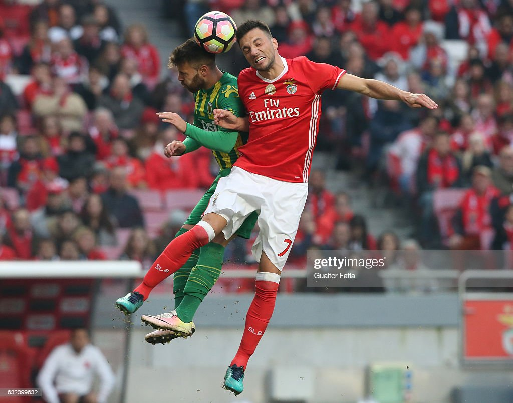 SL BenficaÕs midfielder from Greece Andreas Samaris with Tondela's forward Miguel Cardoso from Portugal in action during the Primeira Liga match between SL Benfica and CD Tondela at Estadio da Luz on January 22, 2017 in Lisbon, Portugal.