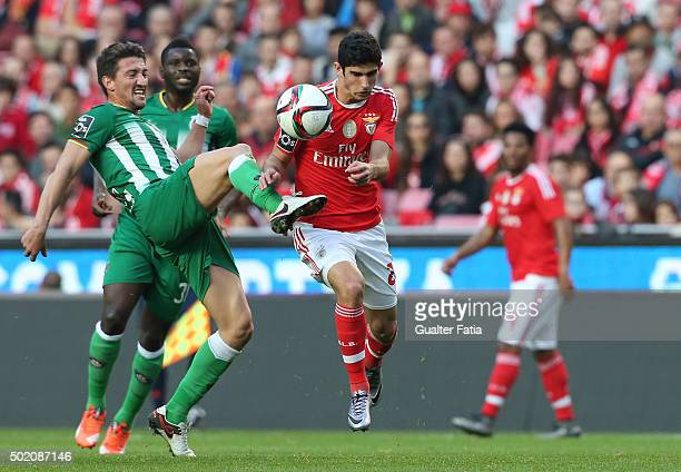 Benfica's midfielder Goncalo Guedes with Rio Ave FC's midfielder Pedro Moreira in action during the Primeira Liga match between SL Benfica and Rio...
