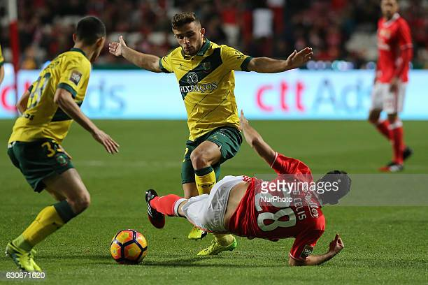Benficas midfielder Guillermo Celis from Colombia and Pacos Ferreiras defender Miguel Vieira from Portugal during the Portuguese Cup 2016/17 match...