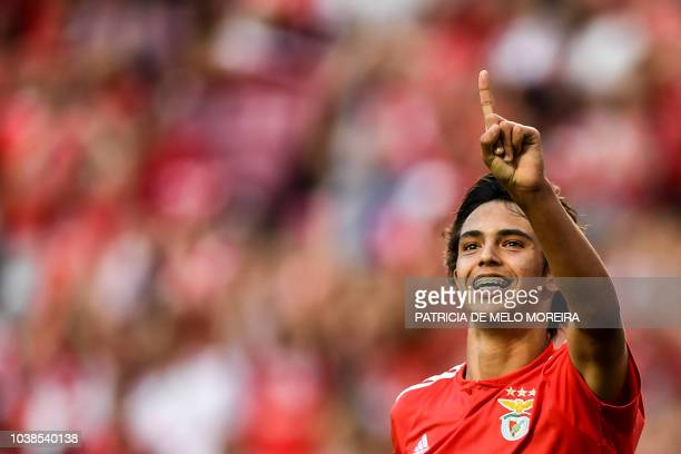 Benfica's midfielder Joao Felix celebrates a goal during the Portuguese league football match between SL Benfica and CD Aves at the Luz stadium in...