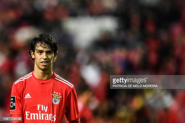 Benfica's midfielder Joao Felix looks on during the Portuguese League football match between SL Benfica and CD Nacional at the Luz stadium in Lisbon...