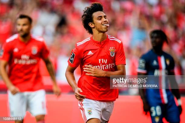 Benfica's midfielder Joao Felix sticks his tongue out after missing a goal opportunity during the Portuguese league football match between SL Benfica...