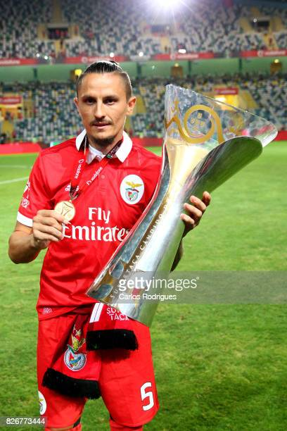 Benfica's midfielder Ljubomir Fejsa from Serbia with Portuguese Super Cup trophy after the match between SL Benfica and VSC Guimaraes at Estadio...