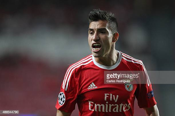 Benfica's midfielder Nicolas Gaitan reacts during the match between SL Benfica and FC Astana for the UEFA Champions League at Estadio da Luz on...