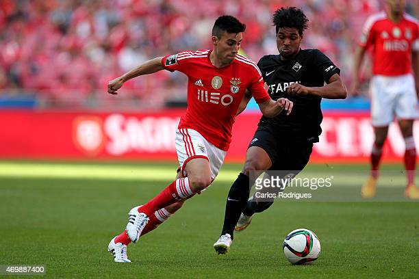 Benfica's midfielder Nicolas Gaitan vies with Academica's midfielder Mineiro during the Primeira Liga Portugal match between Benfica and Academica at...