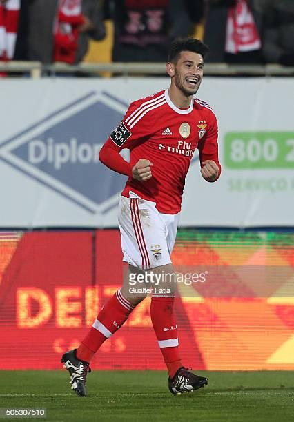 Benfica's midfielder Pizzi celebrates after scoring a goal during the Primeira Liga match between GD Estoril Praia and SL Benfica at Estadio Antonio...