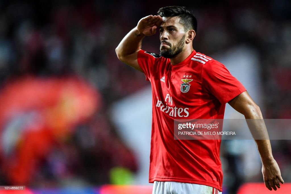 Benfica's midfielder Pizzi Fernandes celebrates a goal during the Portuguese league football match between SL Benfica and Vitoria Guimaraes SC at the Luz stadium in Lisbon on August 10, 2018.