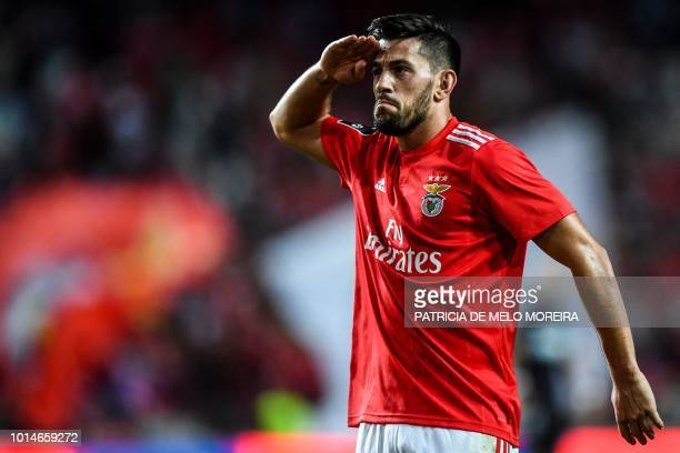 Benfica's midfielder Pizzi Fernandes celebrates a goal during the Portuguese league football match between SL Benfica and Vitoria Guimaraes SC at the...