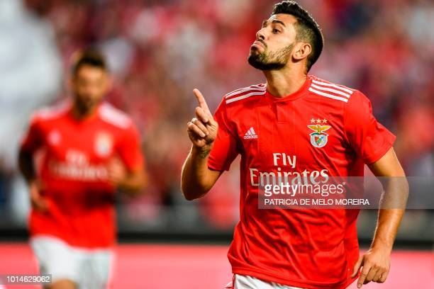 Benfica's midfielder Pizzi Fernandes celebrates after scoring a goal during the Portuguese league football match between SL Benfica and Vitoria...