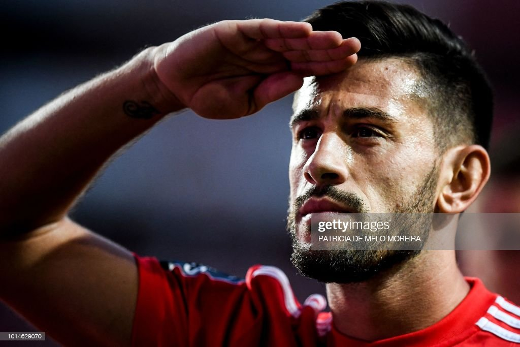 Benfica's midfielder Pizzi Fernandes celebrates after scoring a goal during the Portuguese league football match between SL Benfica and Vitoria Guimaraes SC at the Luz stadium in Lisbon on August 10, 2018.