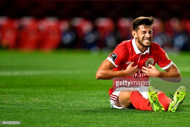 Benfica's midfielder Pizzi Fernandes gestures after missing a goal opportunity during the Portuguese league football match SL Benfica vs Portimonense...