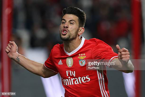 Benficas midfielder Pizzi from Portugal celebrating after scoring a goal during Premier League 2016/17 match between SL Benfica and Moreirense FC at...