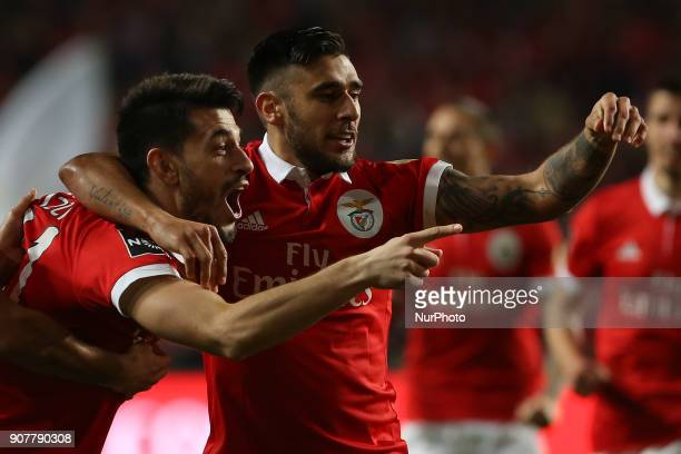 Benficas midfielder Pizzi from Portugal celebrating after scoring a goal during the Premier League 2017/18 match between SL Benfica v GD Chaves at...